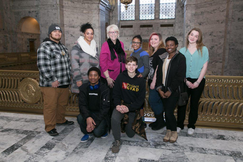 Senator Darneille with Communities in Schools students, January 29, 2016.
