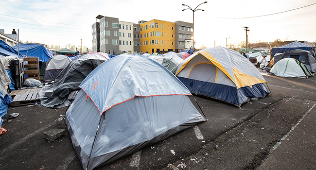 Homeless tent camp in a city owned parking lot in downtown Olympia, Washington, December 7, 2018.
