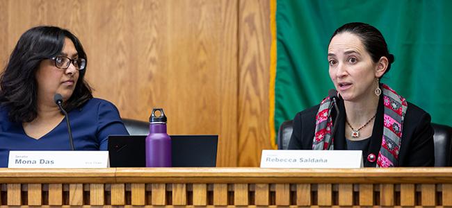 Washington state Senators Mona Das and Rebecca Saldana